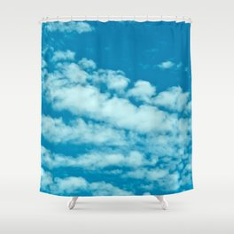 Beautiful blue sky and fluffy clouds Shower Curtain