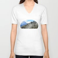skyrim V-neck T-shirts featuring Where Dragons Hide by Jérémy Boes