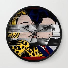 """Roy Lichtenstein's """"In the car"""" & Marcello Mastroianni with Anita Ekberg in La Dolce Vita Wall Clock"""