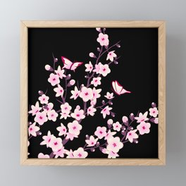 Cherry Blossom Pink Black Framed Mini Art Print