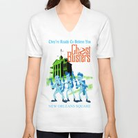 ghostbusters V-neck T-shirts featuring Hitchhiking Ghostbusters by Sam Carter AKA Cartarsauce