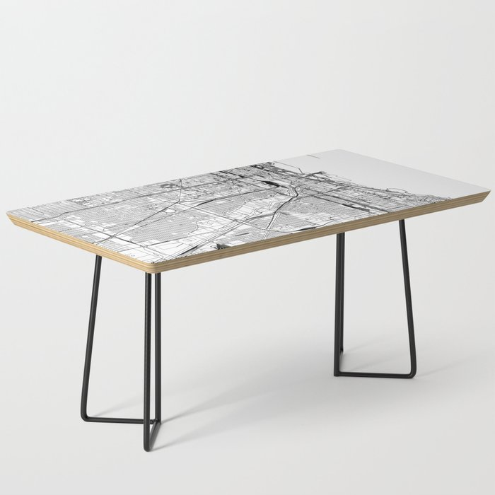 Chicago White Map Coffee Table