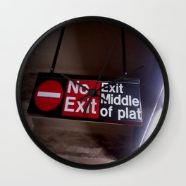 No Exit Sign in Subway Station Wall Clock