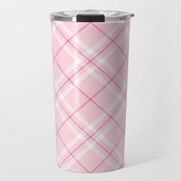 Blush Pink Plaid Travel Mug