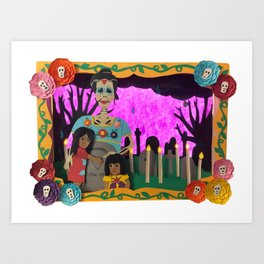 Day of the Dead Paper Art Art Print