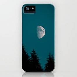 Gibbous Moon Over Pine Tree Silhouette Blue Sky Nature At Night iPhone Case