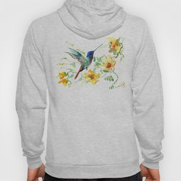 Hummingbird and Flowers, floral design Hawaiian tropical Hoody