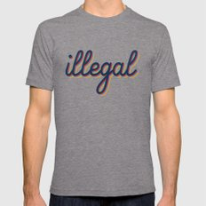 Illegal - yellow version Tri-Grey LARGE Mens Fitted Tee