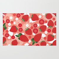 strawberry Area & Throw Rugs featuring Strawberry by Ornaart