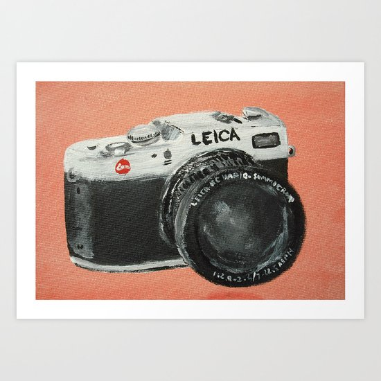Vintage Camera Leica Fine Art Acrylic Painting Art Print