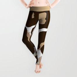 Trendy Artsy Brown Tan Animal Print Brushstrokes Pattern Leggings