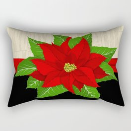 Red Poinsettia Rectangular Pillow