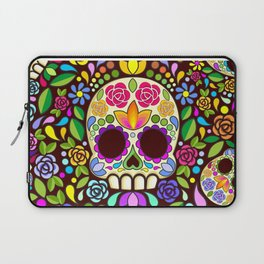 Sugar Skull Floral Naif Art Mexican Calaveras Laptop Sleeve
