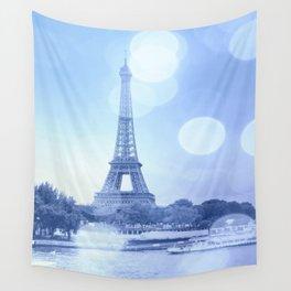 Paris Eiffel Tower Blue Wall Tapestry