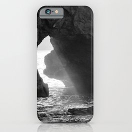 Sunrays Through The Arch. Del Medio Beach. At Sunrise. Bw iPhone Case