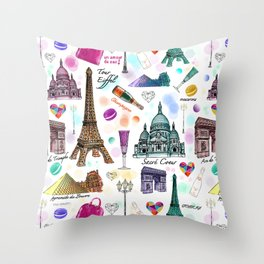Voyage à Paris (Watercolor) Throw Pillow