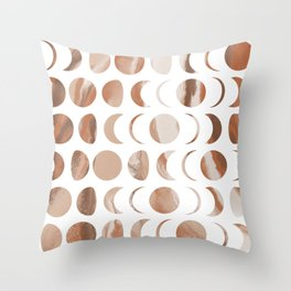 Pastel Moon Phases - Marble Throw Pillow