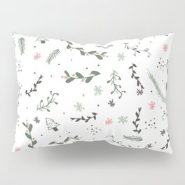 Green pink grey cute Christmas pattern floral branch Pillow Sham