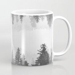 Black and white foggy mirrored forest Coffee Mug