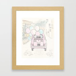 Pink Vintage Car with Balloons in Countryside and Fluffballs Framed Art Print