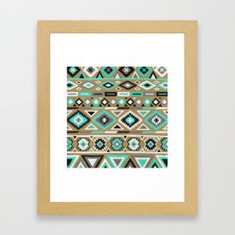 Mixed Tribal Pattern – Turquoise and Kraft Framed Art Print