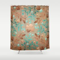 copper Shower Curtains featuring Copper Autumn by Lisa Argyropoulos