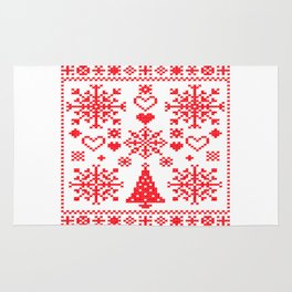 Christmas Cross Stitch Embroidery Sampler Red And White Rug
