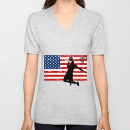 USA American Flag Basketball Basketball Player Gift Unisex V-Neck