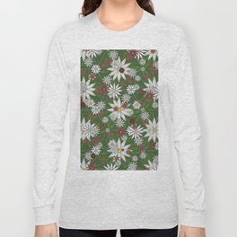 White and Red Flower Pattern on Green Background Long Sleeve T-shirt
