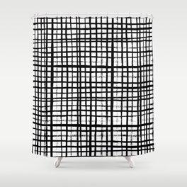 Essie - Grid, Black and White, BW, grid, square, paint, design, art Shower Curtain