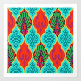 Moroccan Decorations and Peacocks Red,Blue by Lorloves Design Art Print