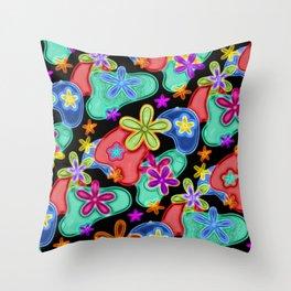 Colorful Retro Flowers Fractalius Pattern Throw Pillow