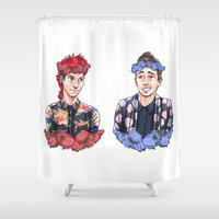 boys Shower Curtains featuring Flower Boys by poweredbycokezero