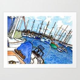 Boats at the Marina Art Print
