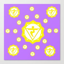 "ASTRAL VIOLET YELLOW SANSKRIT CHAKRAS  PSYCHIC WHEEL ""STRIVE"" Canvas Print"
