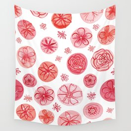 Flowers and Circles #1   Red Palette Wall Tapestry