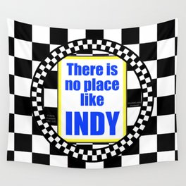 There Is No Place Like INDY, blue & yellow Wall Tapestry