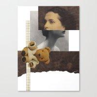 teddy bear Canvas Prints featuring Teddy by KatinkaHanselman