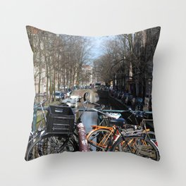 Bike Parked on Canals of Amsterdam Throw Pillow