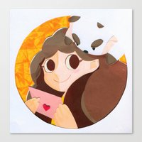 bee and puppycat Canvas Prints featuring Bee & Puppycat by martinezmaca
