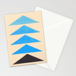Baby Blue Geometric Triangle Pattern With Black Accent Stationery Cards