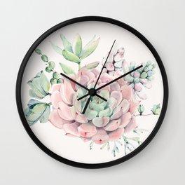 Perfect Pink Succulent Wall Clock
