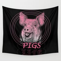pigs Wall Tapestries featuring Pigs Life by VirgoSpice