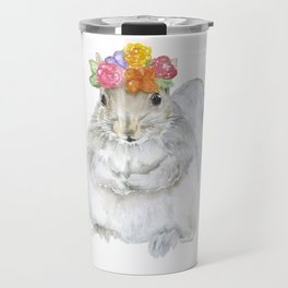Gray Squirrel with a Floral Crown Watercolor Travel Mug