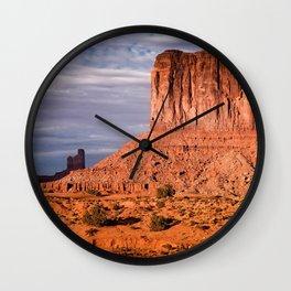 Monument Valley orange rocks sunset evening desert USA Arizona Kayenta Utah United States Wall Clock
