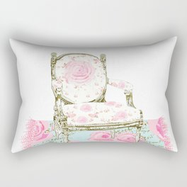 Shabby Chic Rug and French Chair Rectangular Pillow