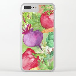 Mixed Vegetables Watercolor Clear iPhone Case