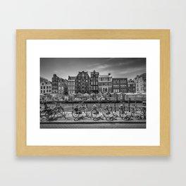 AMSTERDAM Singel Canal with Flower Market | monochrome Framed Art Print