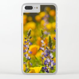 Purple Lupine and Golden Poppies Clear iPhone Case