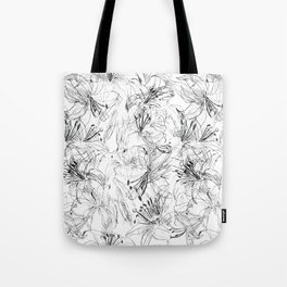 lily sketch black and white pattern Tote Bag